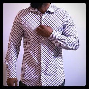 Express Men's Button Down Shirt Dress Top L large